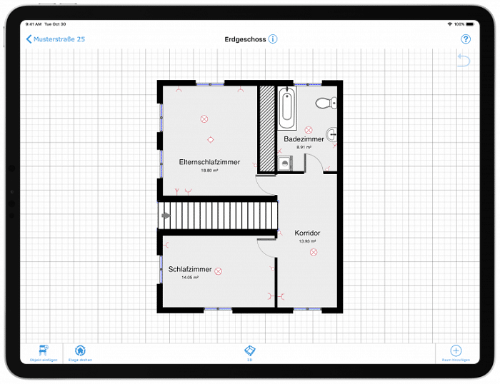Screenshot aus der App magicplan. Wir sehen einen Grundriss, der gerade in der App erstellt wurde