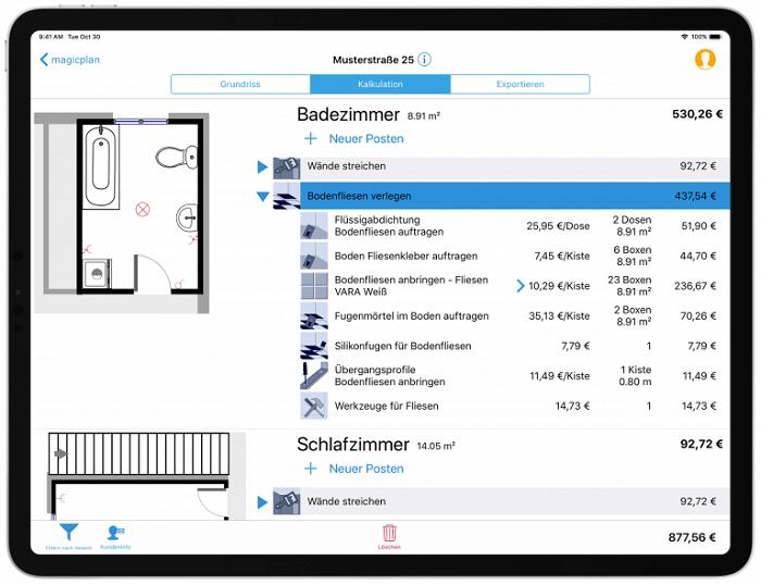 Screenshot aus der magicplan App. Wir sehen, wie die Übersicht der Kosten für ein Projekt
